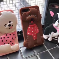 Cute 3d Boston Terrier Poodle Silicon Dog Case For Apple iPhone 6 6s 7 8 plus 6plus 7plus 4.7 5.5 inch Case Cover Women Capa