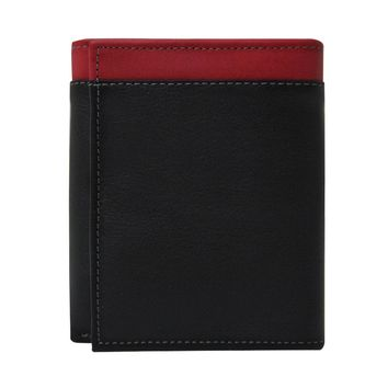 Women's 100% Genuine Leather -- Compact Trifold Wallets-The Jill- Two Tone --Black with Red
