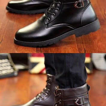 Mens Urban Ankle Strap Casual Boots