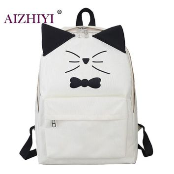 Canvas Backpack Cat Printing Casual Cute Rucksack / Bookbags