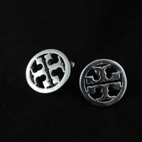 Tory Burch inspired stud earrings - Rhodium Plated