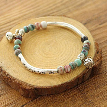 Women Tibetan Ceramics Silver Plated Handmade Vintage Chain Fashion Bracelet Beads Y6