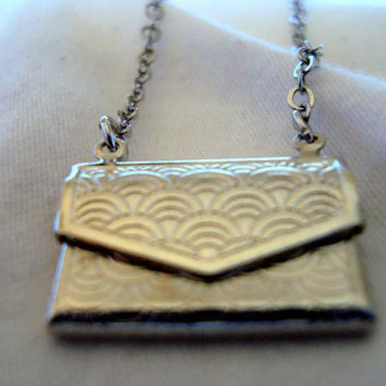Small envelope charm necklace by AshleysCharm on Etsy