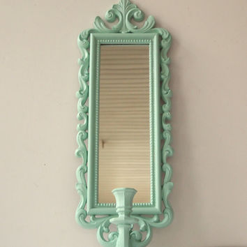 Mirror Candle Wall Sconce Vintage Ornate Syroco Painted Aqua Shabby Chic  Cottage Home Wall Decor Paris