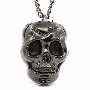 FUNIQUE  Steampunk Pocket Watch Gunmetal Necklace Quartz Pocket Watch For Men Women Skull Battery Included Clock 84.5cm