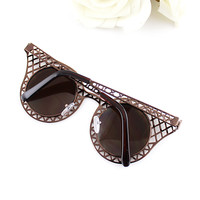 Brown Hollow Cool Sunglasses - Sheinside.com