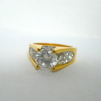 Vintage Jewelry Gold Tone Rhinestone Mens Ring Size 10