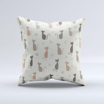 Vintage Solid Cat Shadows Ink-Fuzed Decorative Throw Pillow