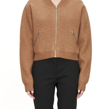 Acne Studios Olympia Camel Boiled Wool Front Zip Jacket