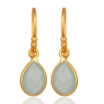 18K Yellow Gold Plated Dyed Aqua Chalcedony Gemstone Bezel Set Drop Earrings