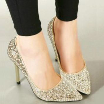 gold glitter pumps with stiletto heel