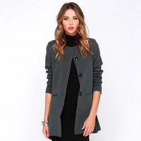 Button DownnFlounced HemTrench Coat