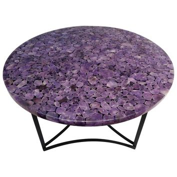 Round Center Table, Madagascar Amethyst Gemstone, Metal Black Powder Coated Base