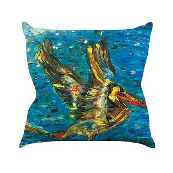 "Josh Serafin ""Seabirds"" Blue Yellow Throw Pillow, 16"" x 16"" - Outlet Item"