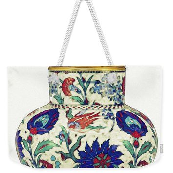 An Ottoman Iznik Style Floral Design Pottery Polychrome, By Adam Asar, No 8a - Weekender Tote Bag