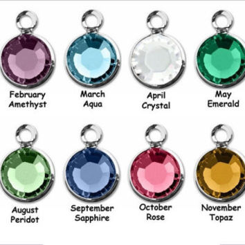 Swarovski Crystal Channel Drop Birthstone Charm to Personalize your Bracelet or Necklace