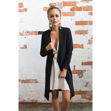 Black Casual Warm Woolen Coat Long Coat