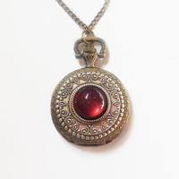Pocket watch Necklace Dragon Breath Fire Opal Pocket watch Locket style necklace--  Valentine's gift for her-watch necklace