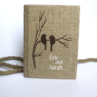 Wedding rustic old style photo album burlap Linen Bridal shower anniversary Brown birds on branch