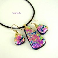 Plum Blossoms Handmade Dichroic Glass Jewelry Pendant and Earring Set