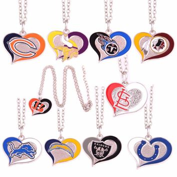 Bears Vikings Titans Redskins Bengals St. Louis Cardinals Detroit Lions Indianapolis Colts Chargers Raiders Swirl Heart Necklace