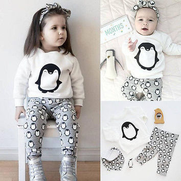 Baby Boy Clothes Sets Clothes Long Sleeve Girls Clothes Cotton Tops T-shirt + Pants 2pcs Penguin Baby Printed Clothing Sets