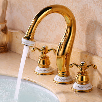 European Antique Ceramic Split Three-Hole Basin Mixer Gold-Plated Vintage All-Copper Cold Basin Faucet Audience