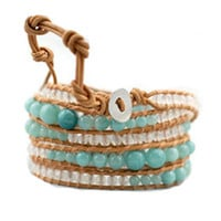 Chan Luu Style Wrap Bracelet Natural Leather Amazonite