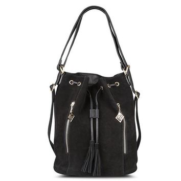 Real Split Suede Leather Bucket Bag