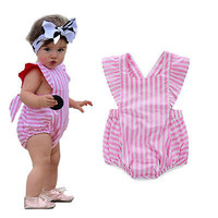 newborn romper sleeveless pinstripe suit