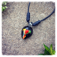 Glass Rasta Mushroom Necklace