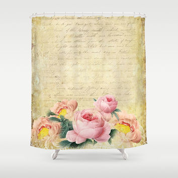 Old Vintage Love Letter Roses #7 Shower Curtain by Juliana RW