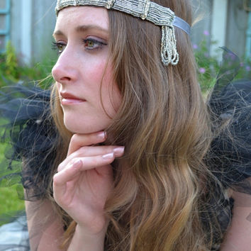 Great Gatsby Flapper Headpiece, Downton Abbey, Beaded Art Deco, 1920s headband headdress vintage