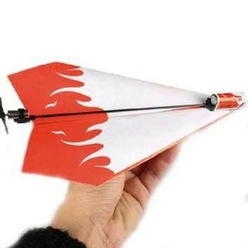 VONET6 1 Pc Children DIY Classic Toys Educational Flying Power Up Paper Plane Kids Electric A