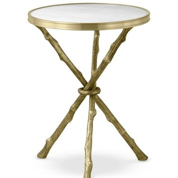 Faux Bois Accent Table with Marble Top