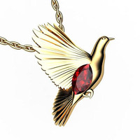 Peace bird Ruby Pendant Marquise stone Gold Jewelry