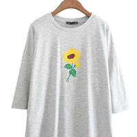 women fashion sunflower embroidery short sleeve T shirt o neck loose free size tees ladies summer casual one size tops DT579