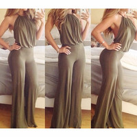PURE COLOR SEXY BACKLESS JUMPSUITS