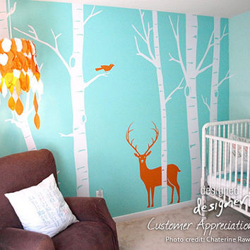 Winter Birch Trees Wall decal with Birds, Deer Wall decals Wall sticker- furniture - dd1008