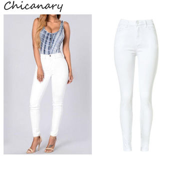 Chicanary Europe High Waist Stretchy Denim Pencil Pants Skinny Jeans 2016 Women Plus Size New Casual Jeggings Leggings