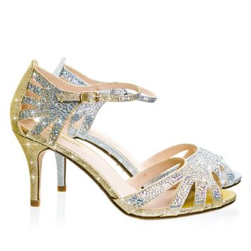 Reason Mid Heel Rhinestone Glitter Gladiator Wedding Party Sandal w Ankle Strap
