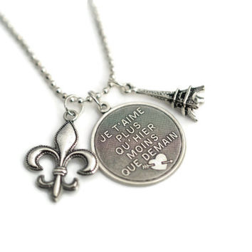 Je T'Aime French Love Necklace - Je T'aime Fleur De Lis Eiffel Tower Silver Plated Charm Love Necklace with Ball Chain