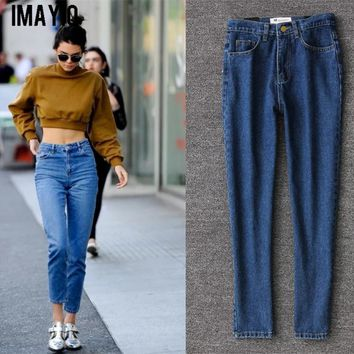 Women High Waist Denim Jeans Vintage Slim Mom Style straight Jeans High Quality Denim Pants for 4 seasons