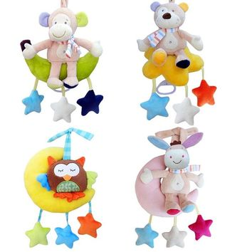High Quality  Animal Sit On The Moon Hanging Crib Toys Cartoon Baby  Bear Donkey Monkey Owl Stuffed Baby Rattle Musical Mobile