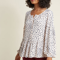 Long Sleeve Button-Up Top with Peplum