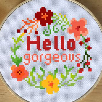 Modern Floral Cross Stitch Pattern, Hello Gorgeous