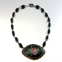 Russian Lacquer Brooch & Onyx Necklace 3