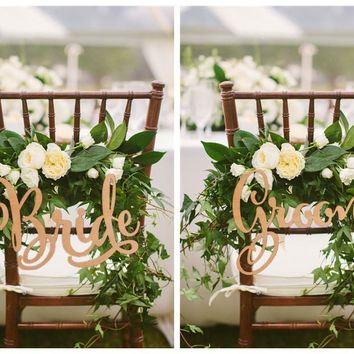 Bride and Groom Chair Signs ,Rustic Wedding Wooden Chair Sign,Wood Signs,Photo Props , Wedding Decoration ,2pcs/lot