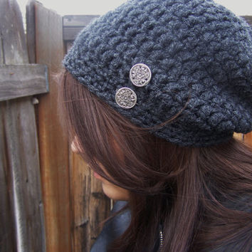 Crochet Thick Slouch Beanie with Buttons-Charcoal Grey