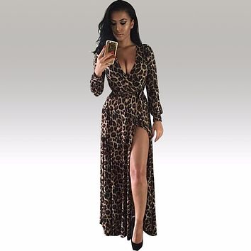 Womens Sexy Deep V Neck Low Cut Slit Leopard Print Casual Prom Party Long Dress Long Sleeve Elegant Evening Maxi Dress KF917